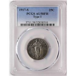 1917-S Standing Liberty Quarter Coin PCGS AU58FH Type 1