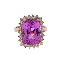 14KT Rose Gold 11.42 ctw Kunzite and Diamond Ring