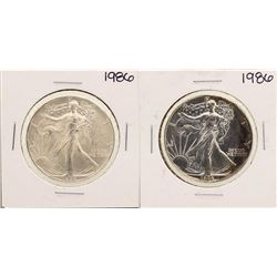 Lot of (2) 1986 $1 American Silver Eagle Coins