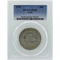 1936 York County, Maine Tercentenary Commemorative Half Dollar Coin PCGS MS66