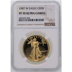 1987-W $50 American Gold Eagle Coin NGC PF70 Ultra Cameo