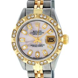 Rolex Ladies Two Tone 14K Pink Mother Of Pearl Pyramid Diamond Datejust