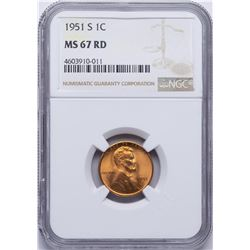 1951-S Lincoln Wheat Cent Coin NGC MS67RD