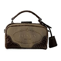 Prada Logo Jacquard Mini Crossbody Clutch Bag