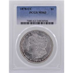 1878-CC $1 Morgan Silver Dollar Coin PCGS MS63