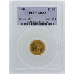 1906 $2 1/2 Liberty Head Quarter Eagle Gold Coin PCGS MS62