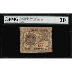 November 29, 1775 $7 Continental Currency Note Fr. CC-17 PMG Very Fine 30