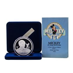 1988 Rarities Mint Walt Disney 60 Years Mickey & Walt 5oz .999 Silver Coin w/Box
