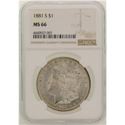 1881-S $1 Morgan Silver Dollar Coin NGC MS66