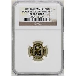 1990 Isle of Man Penny Black Anniversary 1/10 oz. Gold Coin NGC PF69 Cameo
