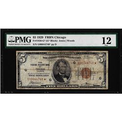 1929 $5 Federal Reserve Bank STAR Note Chicago Fr.1850-G PMG Fine 12