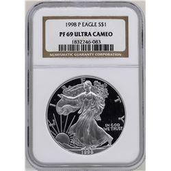 1998 $1 American Silver Eagle Coin NGC PF69 Ultra Cameo