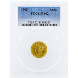 1903 $2 1/2 Liberty Head Quarter Eagle Gold Coin PCGS MS62