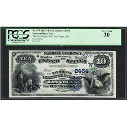 1882 $10 VB The San Miguel NB of Las Vegas, New Mexico Ch# 2454 PCGS Very Fine 3