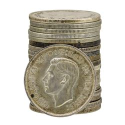 Roll of (20) Mixed 1940-1953 Canada Half Dollar Coins