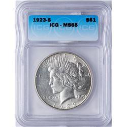 1923-S $1 Peace Silver Dollar Coin ICG MS65