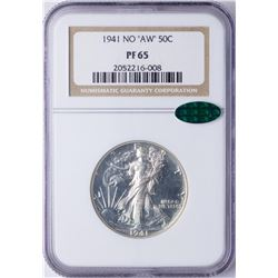 "1941 No ""AW"" Walking Liberty Half Dollar Proof Coin NGC PF65 CAC"