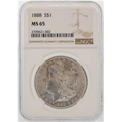 1888 $1 Morgan Silver Dollar Coin NGC MS65