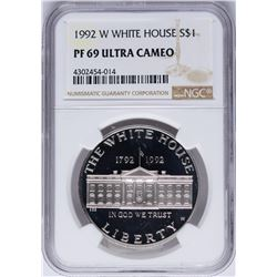 1992-W $1 White House Commemorative Silver Dollar Coin NGC PF69 Ultra Cameo