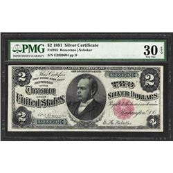 1891 $2 Windom Silver Certificate Note Fr.245 PMG Very Fine 30EPQ