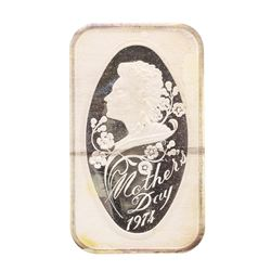 1974 Happy Mothers Day 1 oz .999 Fine Silver Art Bar Madison Mint