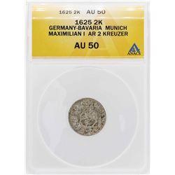 1625 Germany-Bava 2 Kreuzer Munich Maximilian I Silver Coin ANACS AU50