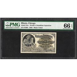 1893 World's Columbian Exposition Ticket Handel PMG Gem Uncirculated 66EPQ