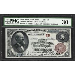 1882 BB $5 First NB City of New York, NY CH# 29 National Currency Note PMG Very