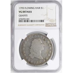1795 $1 Flowing Hair Silver Dollar Coin NGC VG Details Graffiti