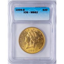 1899-S $20 Liberty Head Double Eagle Gold Coin ICG MS62