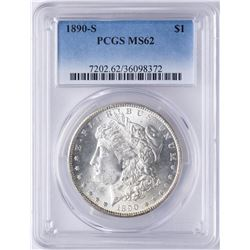 1890-S $1 Morgan Silver Dollar Coin PCGS MS62