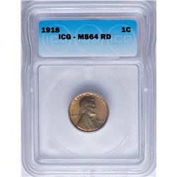 1918 Lincoln Wheat Cent Coin ICG MS64RD