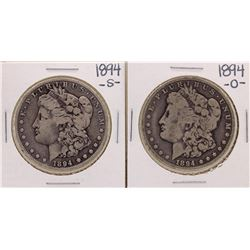 Lot of 1894-O & 1894-S $1 Morgan Silver Dollar Coins