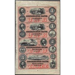 Uncut Sheet of 1800's $1/1/$3/$4 Stonington Bank Obsolete Notes