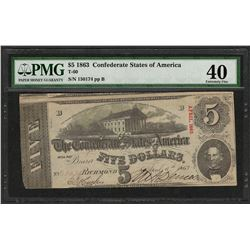 1863 $5 Confederate States of America Note T-60 PMG Extremely Fine 40