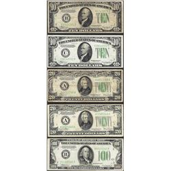 Lot of 1934 $10/$20/$100 Federal Reserve Notes