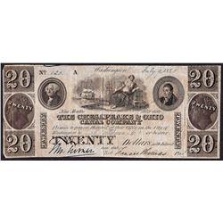 1840 $20 Chesapeake & Ohio Canal Company Obsolete Note