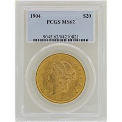 1904 $20 Liberty Head Double Eagle Gold Coin PCGS MS62