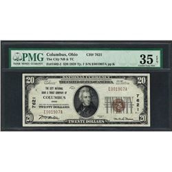 1929 $20 National Currency Note Columbus, Ohio CH# 7621 PMG Choice Very Fine 35E