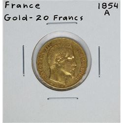 1854-A France 20 Francs Gold Coin
