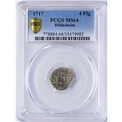 1717 Hildesheim 4 Pfennig Coin PCGS MS64