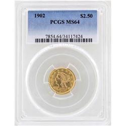 1902 $2 1/2 Liberty Head Quarter Eagle Gold Coin PCGS MS64