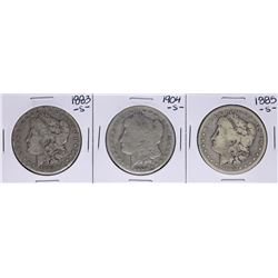 Lot of 1883-S, 1885-S, & 1904-S $1 Morgan Silver Dollar Coins
