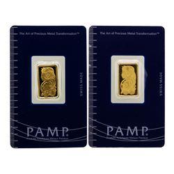 Lot of (2) Suisse 5 Gram Fine Gold Pamp Gold Bars