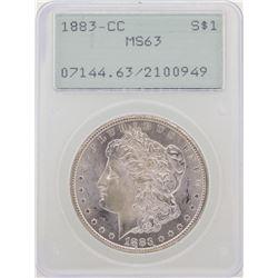 1883-CC $1 Morgan Silver Dollar Coin PCGS MS63 Green Rattler