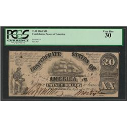 1861 $20 Confederate States of America Note T-18 PCGS Very Fine 30