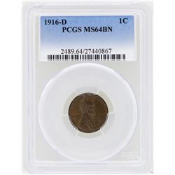 1916-D Lincoln Wheat Penny Coin PCGS MS64BN