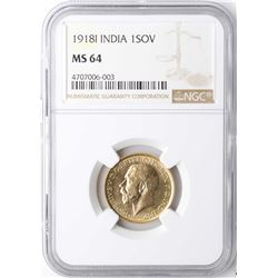 1918I India Sovereign Gold Coin NGC MS64