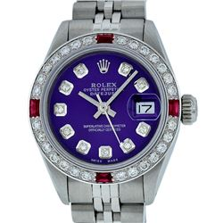 Rolex Ladies Stainless Steel Purple Diamond & Ruby 26MM Datejust Watch