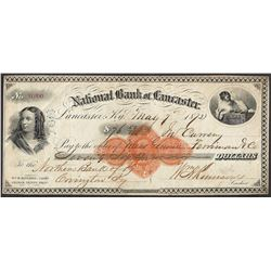 1873 National Bank of Lancaster Check